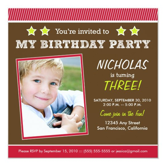 Super Star! Boy's Red Birthday Party Invitation