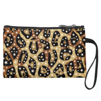 Super Star Cheetah Abstract Suede Wristlet Wallet