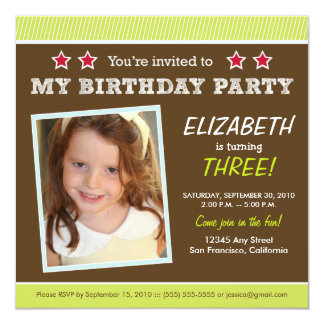 Super Star! Girl's Lime Birthday Party Invite