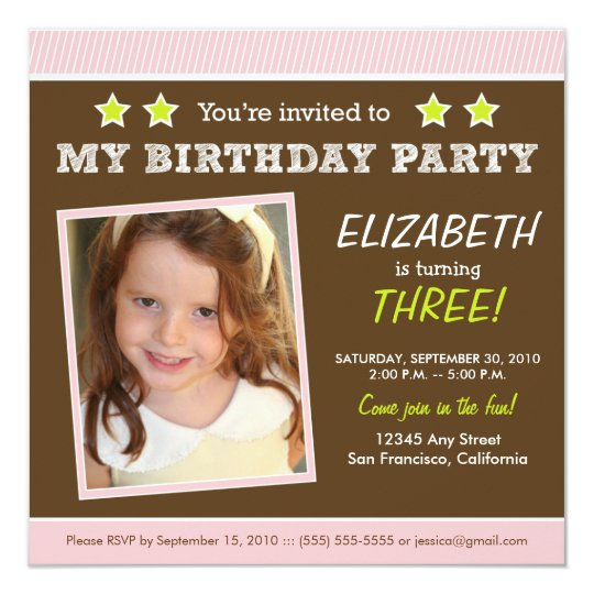 Super Star! Girl's Pink Birthday Party Invite
