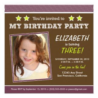 Super Star! Girl's Purple Birthday Party Invite