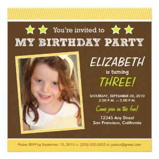 Super Star! Girl's Yellow Birthday Party Invite