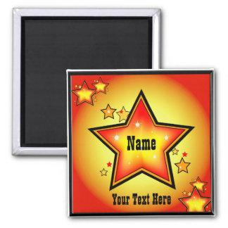 Super Star Gold Orange Superstar Custom Square 2 Inch Square Magnet