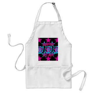 Super Star Hot Pink Teal Swirls Stars Pattern Adult Apron