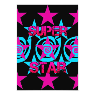 Super Star Hot Pink Teal Swirls Stars Pattern Card