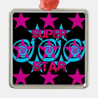 Super Star Hot Pink Teal Swirls Stars Pattern Metal Ornament