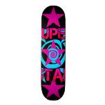 Super Star Hot Pink Teal Swirls Stars Pattern Skateboard
