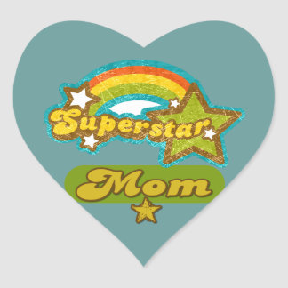 Super Star Mom Heart Sticker