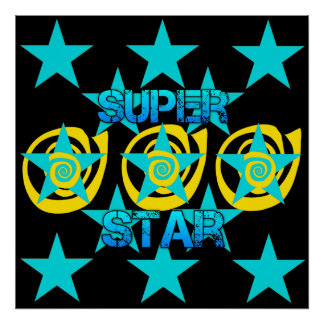 Super Star Teal Yellow Swirls Stars Pattern Poster