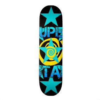 Super Star Teal Yellow Swirls Stars Pattern Skateboards