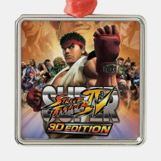 Super Street Fighter IV 3D Edition Box Art Square Metal Christmas Ornament