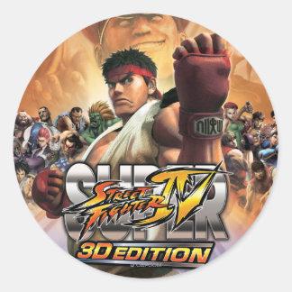 Super Street Fighter IV 3D Edition Box Art Classic Round Sticker