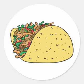 super stuffed taco round stickers