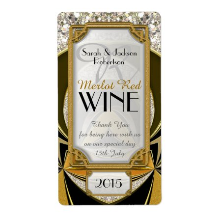 Super Stylish Gold Black Art Deco Wine Labels