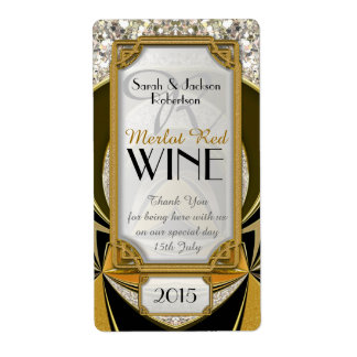 Super Stylish Gold Black Art Deco Wine Labels