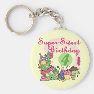 Super Sweet 4th Birthday T-shirts and Gifts Basic Round Button Keychain