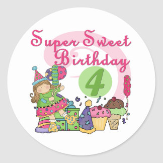Super Sweet 4th Birthday T-shirts and Gifts Classic Round Sticker