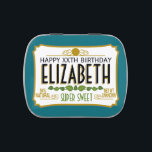 "Super Sweet Birthday Favor with Name - Blue Jelly Belly Tin<br><div class=""desc"">A humorous take with an area to add name and personality trait. A gag gift or birthday memento. If you need to personalize it more,  click on the customize this button to make changes.</div>"