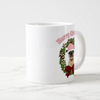 Super Sweet Christmas Pug Wreath - Pink Large Coffee Mug
