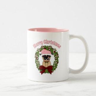 Super Sweet Christmas Pug Wreath - Pink Two-Tone Coffee Mug