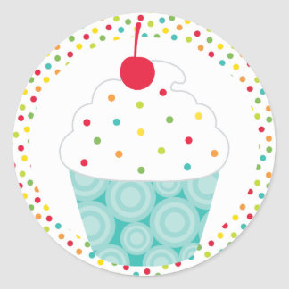 Super Sweet Cupcake Party Classic Round Sticker