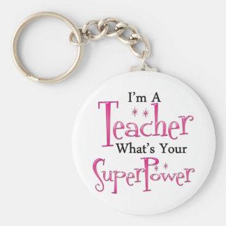 Super Teacher Basic Round Button Keychain