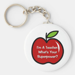 Super teacher keychain with red apple