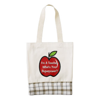 Super teacher tote bag with red apple zazzle HEART tote bag