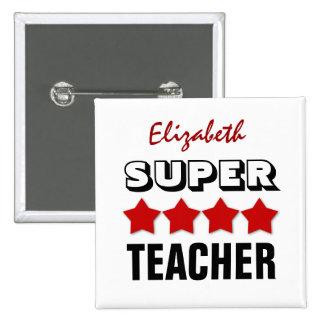 Super TEACHER with Stars RED V22 Button