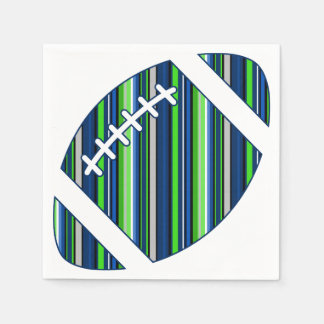 Super Team Striped Football in Blue and Green Paper Napkin