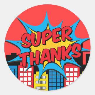 Super thanks classic round sticker