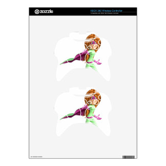 Super Toon Girl in Green and Pink Xbox 360 Controller Decal
