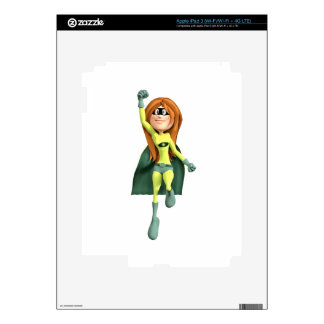 Super Toon Girl in Lime and Green iPad 3 Decals