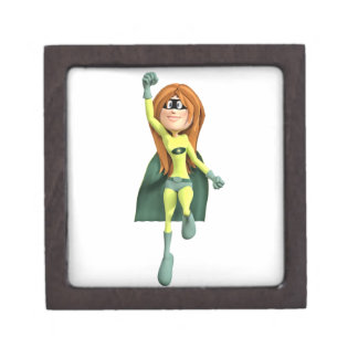 Super Toon Girl in Lime and Green Jewelry Box