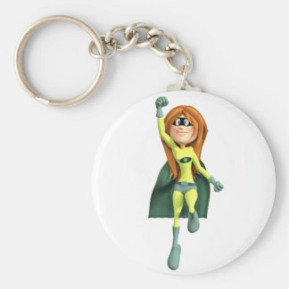 Super Toon Girl in Lime and Green Keychain