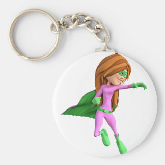 Super Toon Girl in Pink  and Green Keychain