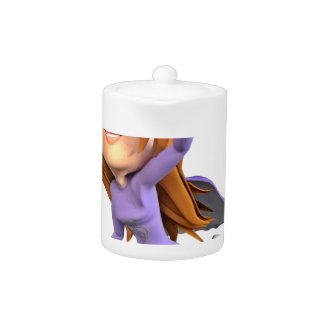 Super Toon Girl in Purple and Grey Teapot