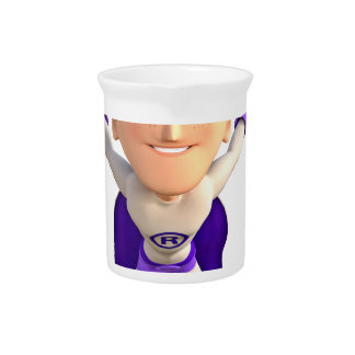 Super Toonman dressed in Grey and Purple Drink Pitcher