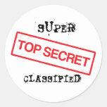 Super top secret classified classic round sticker