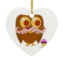 Super Trendy Bacon Mustache Owl Ceramic Ornament