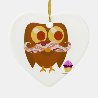 Super Trendy Bacon Mustache Owl Double-Sided Heart Ceramic Christmas Ornament