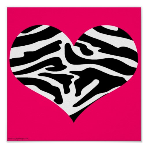 Super Trendy Hot Pink Zebra Heart Poster