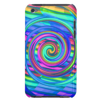Super Turquoise Rainbow Spiral With Stripes Design iPod Touch Case