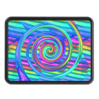 Super Turquoise Rainbow Spiral With Stripes Design Tow Hitch Cover
