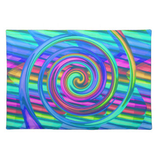Super Turquoise Rainbow Spiral With Stripes Design Place Mats