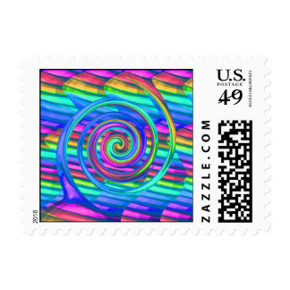 Super Turquoise Rainbow Spiral With Stripes Design Stamps