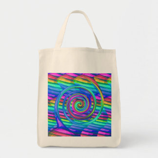 Super Turquoise Rainbow Spiral With Stripes Design Tote Bag