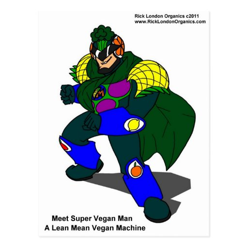 Super Vegan Man (Our Mascot) Gifts Tees & Cards Postcard