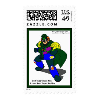 Super Vegan Man Our Mascot Real USPS Stamps Postage
