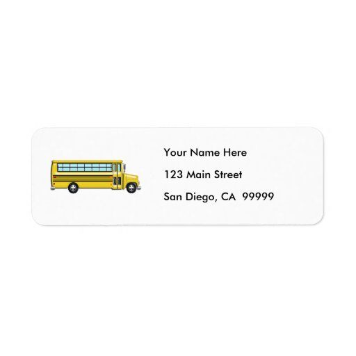 Super Yellow School Bus Return Address Labels